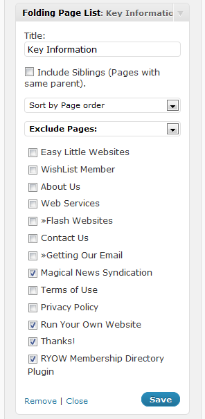 Folding Page List Widget Options